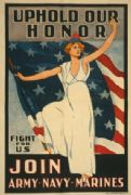 Uphold our honor--Fight for us Join Army-Navy-Marines. Vintage American WW1 Poster.